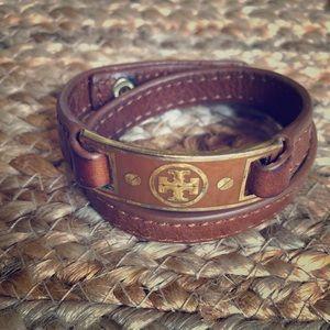 Tan Tory Burch wrap bracelet